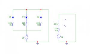 esquematico del circuito con un interruptor y tres LEDs